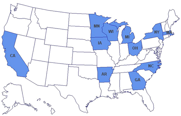 Currently funded PCNASR states include California, Minnesota, Iowa, Wisconsin, Michigan, Arkansas, Ohio, Georgia, North Carolina, New York, and Massachusetts.