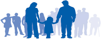 Graphic: Men, women and children.
