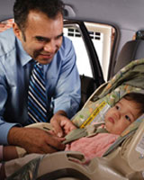 Photo: A father securing his child in a safety seat.
