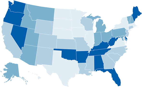 The maps shows the amount of prescription painkillers sold in states. A detailed list can be found at http://www.cdc.gov/homeandrecreationalsafety/rxbrief/states.html