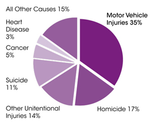 Pie chart illustrating that motor vehicles are the leading causes of death for teens age 15-19: motor vehicle crashes total 35% of deaths, homicide is 17%, other unintentional injuries are 14%, suicide is 11%, cancer is 5%, heart disease is 3% and all other causes are 15%.