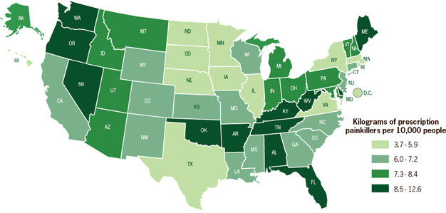 Map: Amount of prescription painkillers sold by state per 10,000 people (2010)