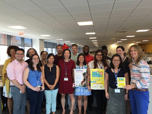 Members of the New York City Department of Health and Mental Hygiene's Zika Response Team with educational materials about Zika, designed by the agency for provider and community outreach.