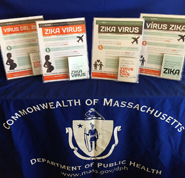 The Massachusetts Department of Public Health developed educational materials in English, Spanish, Portuguese, and Haitian-Creole for women and men travelling to areas with risk of Zika virus.