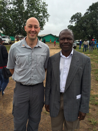 Photo: Erik with Dr. Adolphus Yeiah, the Margibi County Health Director in Liberia. Dr. Yeiah assumed the role of director after twenty local healthcare workers died from Ebola, forcing their hospital to close, and the acting director quit.