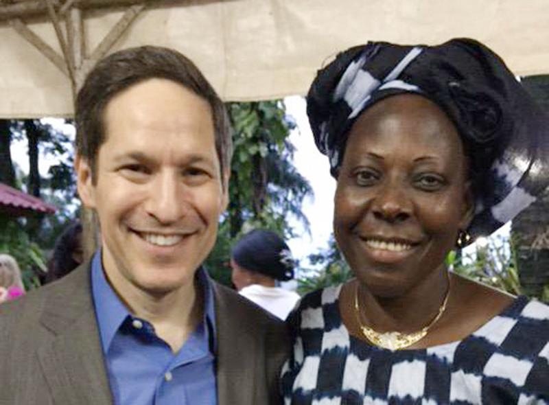 Spending time with Claire Tchecola, a nurse in Donka hospital, Guinea. She survived Ebola; continues educating others.