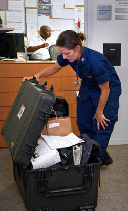 CDC responder Rebecca Merrill prepares to deploy to West Africa to support the Ebola response.