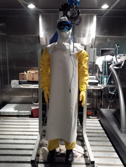 A NIOSH sweating thermal manikin with the PPE ensemble commonly used by Doctors Without Borders (MSF) for high exposure areas.