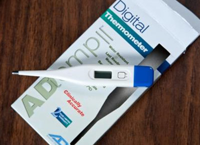 A digital thermometer is included in the Ebola CARE Kit for travelers to monitor themselves for fever.