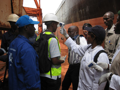 Health screening at the Conakry Maritime Port in Guinea.