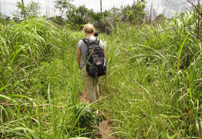 Kari Yacisin heads to a remote village in Guinea to complete a day of contact tracing with her team.