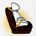 Graphic: Carseat buckled into a car