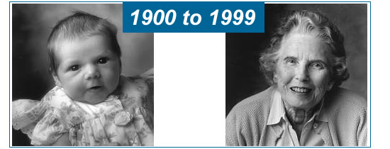1900 to 1999, photo of baby then senior woman