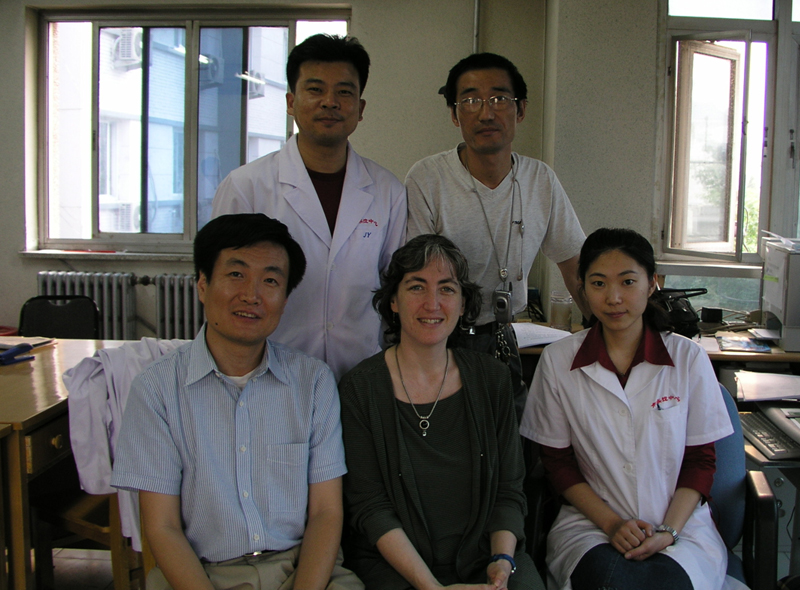 Bottom row (left-to-right): then EIS officer Weigong Zhou, Anne Schuchat and Ning Fang (Beijing CDC). Top row (left-to-right) Changya Li and Shen Zhuang, both Beijing CDC. Shen Zhuang directed emergency response for the Beijing CDC during the SARS response and was lead author on their report of a SARS superspreader.