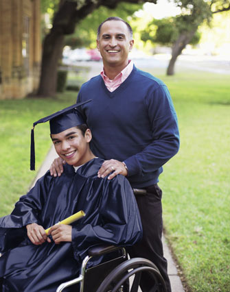A graduating student with his father.