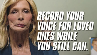 "A photo of a former smoker with text that reads ""Record your voice for loved ones while you still can."""