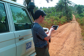 CDC Global Rapid Response worker on location