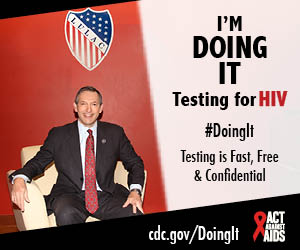 Doing It banner. A man sitting in a chair in front of a red wall. I'm Doing It. Testing for HIV. Testing is Fast, Free & Confidential. cdc.gov/DoingIt #DoingIt Act Against AIDS