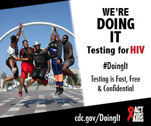 A group of five African American young men jumping in the air with excited expressions. Were doing it. Testing for HIV. #DointIt Testing is free & confidentical. cdc.gov/DoingIt HHS, CDC, Act Against AIDS