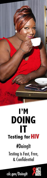 Doing It banner.  A woman at a café bar sipping coffee next to an old fashion espresso machine. I'm Doing It. Testing for HIV. Testing is Fast, Free & Confidential. cdc.gov/DoingIt #DoingIt HHS, CDC, Act Against AIDS