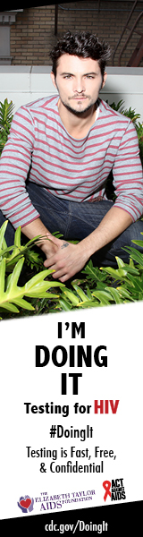 Actor Shiloh Fernandez sitting in green shrubbery looking directly into camera. I'm Doing It. Testing for HIV. Testing is Fast, Free & Confidential. cdc.gov/DoingIt #DoingIt The Elizabeth Taylor AIDS foundation, Act Against AIDS