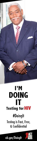 A man standing in front of a window with his hands folded. I'm Doing It. Testing for HIV. Testing is Fast, Free & Confidential. cdc.gov/DoingIt #DoingIt Act Against AIDS