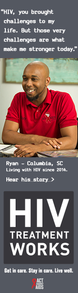 "This is the CDC HIV Treatment Works Campaign banner of Ryan, a person living with HIV since 2014. ""HIV you brought challenges to my life. But those very challenges are not what make me stronger today,"" says Ryan, of Columbia, South Carolina. A photo shows a smiling Ryan sitting at his desk wearing a red HIV/AIDS Council Staff shirt."