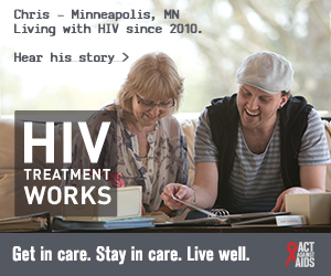 CDC Campaign banner of Chris, a person living with HIV in 2010 from Minneapolis, Minnesota: HIV Treatment Works. Get in Care. Stay in Care. Live Well. Hear his story at cdc.gov/HIVTreatmentWorks. A photo shows Chris looking at photo album with his grandmother.