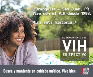 Pancarta de la campaña de CDC de L'Orangelis, una persona de San Juan, Puerto Rico que vive con el VIH desde 1988:  El tratamiento del VIH es efectivo. Busca y mantente en cuidado médico. Vive bien. Escucha su historia en  cdc.gov/HIVTreatmentWorks. Una foto muestra L'Orangelis acostada sobre una manta en un parque.