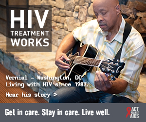 CDC campaign banner of Vernial, a person living with HIV since 1987: HIV Treatment Works. Get in Care. Stay in Care. Live Well. Hear his story at  cdc.gov/HIVTreatmentWorks. A photo shows Vernial playing a guitar.