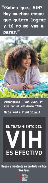 Pancarta de la campaña de CDC de L'Orangelis, una persona que vive con el VIH desde 1988: ¿Sabes qué, VIH? Hay muchas cosas que todavía quiero lograr y tú no me vas a parar, dice L'Orangelis de San Juan, Puerto Rico. El tratamiento del VIH es efectivo. Busca y mantente en cuidado médico. Vive bien. Escucha su historia en  cdc.gov/HIVTreatmentWorks. Una foto muestra L'Orangelis acostada sobre una manta en un parque.