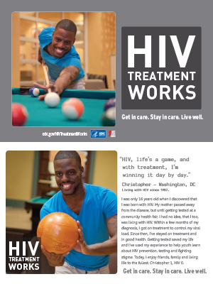CDC campaign palm card of Christopher, a person living with HIV since 1987: HIV, life's a game, and with treatment, I'm winning it day by day, says Christopher of Washington, DC. A photo shows Christopher bowling. A photo of Christopher shows him playing pool.