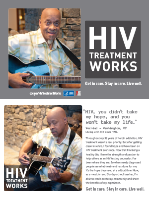 CDC campaign palm card of Vernial, a person living with HIV since 1987: HIV, you didn't take my hope, and you won't take my life, says Vernial of Washington, DC. A photo shows Vernial playing a guitar. A photo shows Vernial playing a guitar.