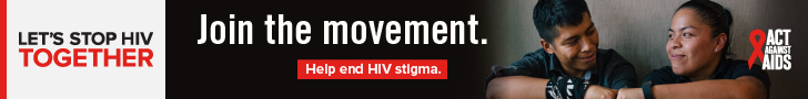 Let's Stop HIV Together. Act Against AIDS. Join the movement. Help end HIV stigma. Photo of a Latino woman and man bumping fists and smiling.