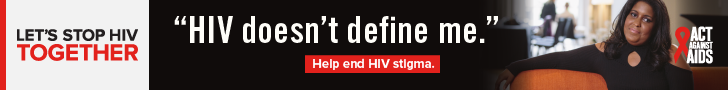 Let's Stop HIV Together. Act Against AIDS.  HIV doesn't define me. Help end HIV stigma. Photo of African-American woman sitting on sofa.