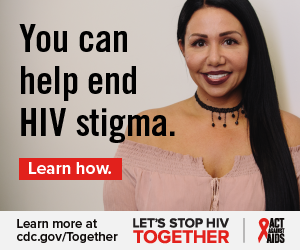 You can help end HIV stigma. Learn how. Learn more at cdc.gov/Together Let's Stop HIV Together. Act Against AIDS. Photo of Latina woman smiling against a wall.