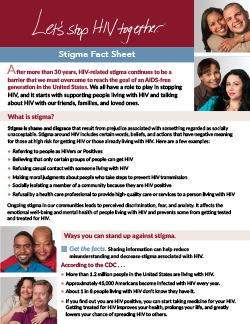 Let's Stop HIV Together Stigma Fact Sheet thumbnail