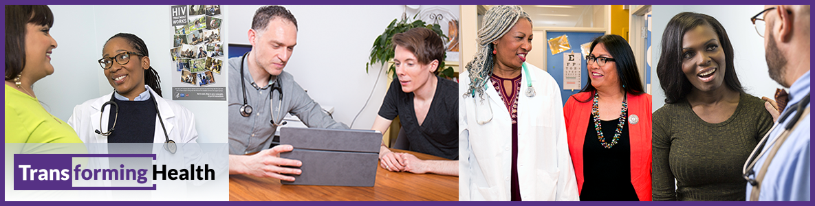 A four-panel collage of Transforming Health photos featuring transgender people. Three panels show individuals speaking with health professionals. One panel shows an individual filling out a form.