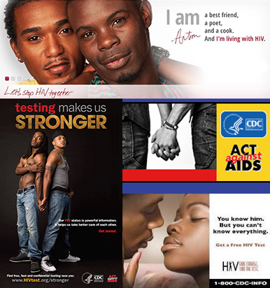 collage of act against aids campaign materials