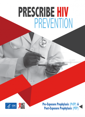 Prescribe HIV Prevention poster showing a doctor using a tablet.