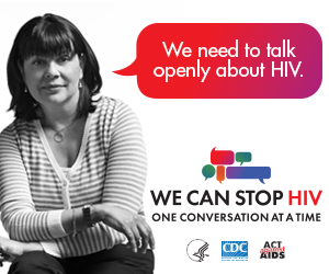 CDC One Conversation at a Time Campaign web banner. Image of a middle aged Latina and a speech bubble with a message about the importance of having HIV conversations