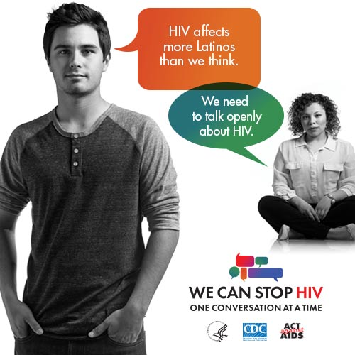 CDC One Conversation at a Time Campaign web banner. Image of two young Latinos, a boy and a girl, and two speech bubbles with a message about the importance of having HIV conversations.