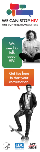CDC One Conversation at a Time Campaign web banner. Image of a young Latino with a speech bubble that has a message about the importance of having HIV conversations