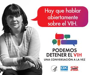 Valla digital de la campaña de CDC. Imagen de una mujer latina de mediana edad con una burbuja y un mensaje que representa la importancia de tener conversaciones acerca del VIH.