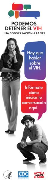 Valla digital de la campaña de CDC. Imagen de una mujer latina y un joven latino y dos burbujas con mensajes que representan la importancia de tener conversaciones acerca del VIH.