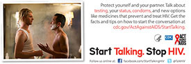 Start Talking. Stop HIV. palm card: Get a few things off your chest card back