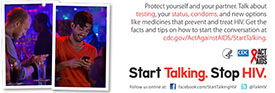 Start Talking. Stop HIV. palm card: Talk can be the perfect foreplay card back #2