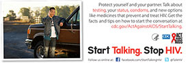 Start Talking. Stop HIV. palm card: Make conversation before you make out card back #2