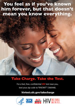 Take Charge. Take the Test. Palm card showing African American couple.