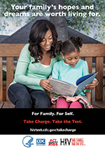 Take Charge. Take the Test. Palm card showing African American woman and daughter.